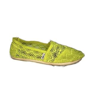 Toms Neon Green(yellow) Crocheted Flats Size 7